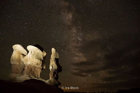 Night view of hoodoos at Devils Garden in Arches National Park, Utah.