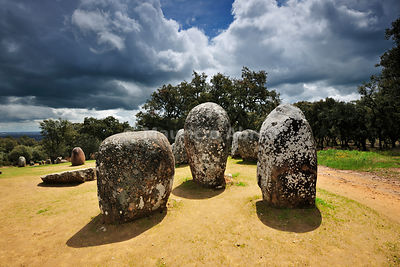 Almendres cromlech, a 8000 years old prehistoric monument. Évora, Portugal