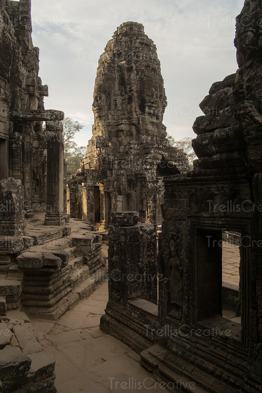 Buddha carvings on temples, Angkor Wat, Cambodia