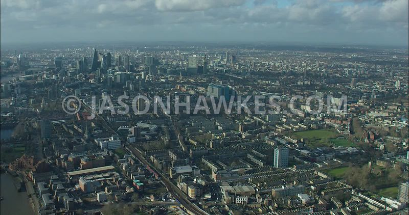 London Aerial footage, Stepney towards Whitechapel.