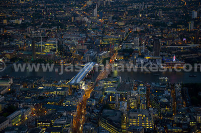 London. Aerial view of Blackfriars Bridge and the River Thames