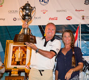 Team Viewpoint (present, Steve McConaghy, Mia Gillow) and the Coronation Cup. Top of the Gulf Regatta 2017