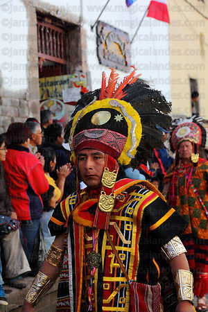Inca official during processions for Inti Raymi festival , Cusco , Peru