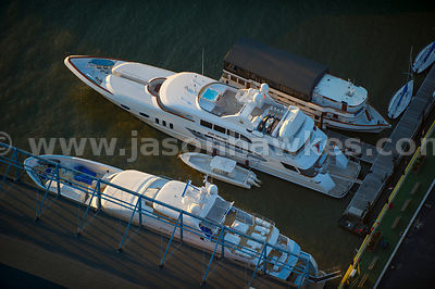 Aerial view of boats docked on the Hudson River