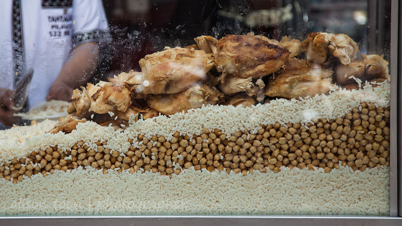 Chicken, rice and chick peas (garbanzos)
