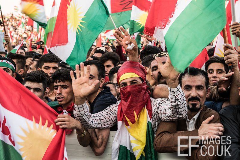 Flag Fever at the final Kurdish Independence Referendum rally at the Franso Hariri Stadium in Erbil. 22nd September 2017. Elizabeth Fitt