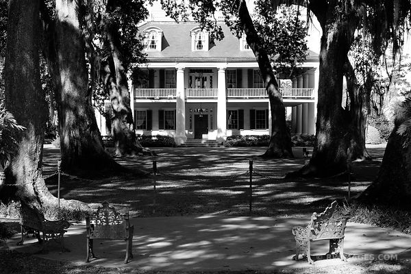 HOUMAS HOUSE PLANTATION LOUISIANA BLACK AND WHITE