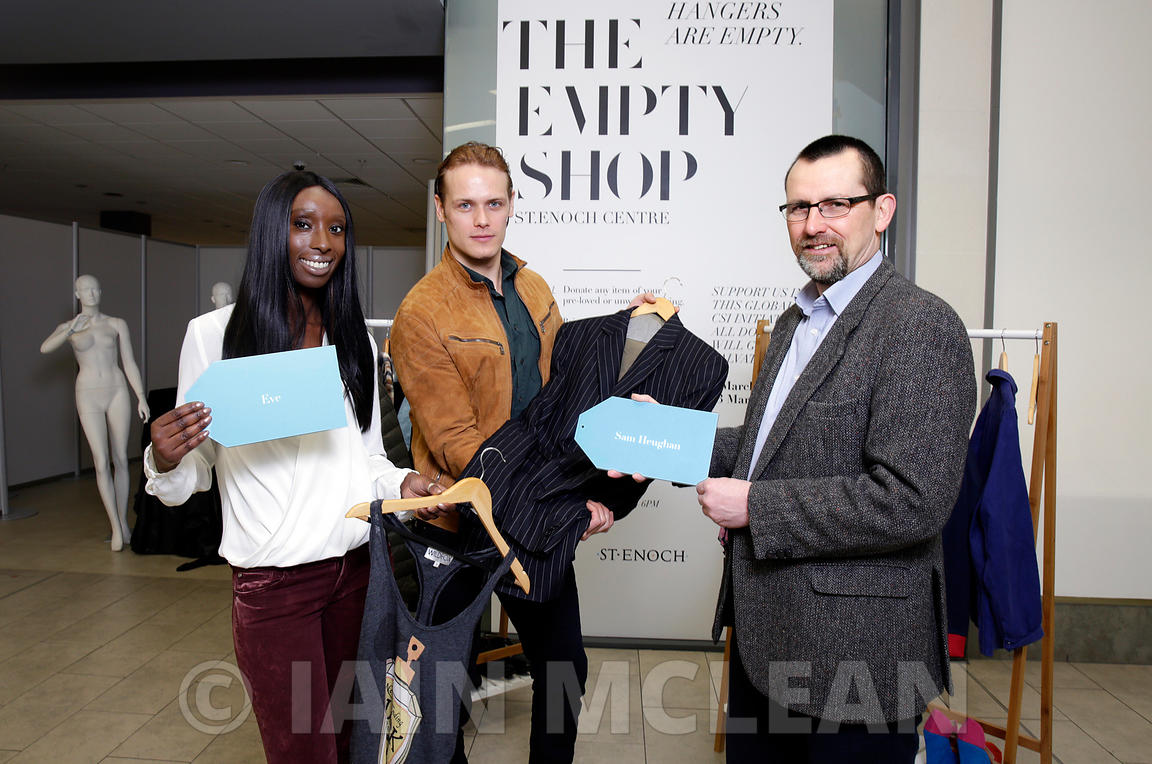 St Enoch Centre, Glasgow.3.3.16.Scottish actor and star of Outlander Sam Heughan and Eunice Olumide, TV presenter, supermodel, actress and environmental campaigner were today at 'The 'Empty Shop' unit as part of Pass It On Week, organised by Zero Waste Scotland. ..More info from Sarah Stuart at Zero Waste Scotland.07715 066 461.sarah.stuart@zerowastescotland.org.uk...Pictures Copyright: Iain McLean.79 Earlspark Avenue.G43 2HE.07901 604 365.www.iainmclean.com.photomclean@googlemail.com.07901 604 365.ALL RIGHTS RESERVED.