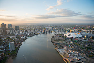 Aerial view of the Greenwich Peninsula and the Thames River, London