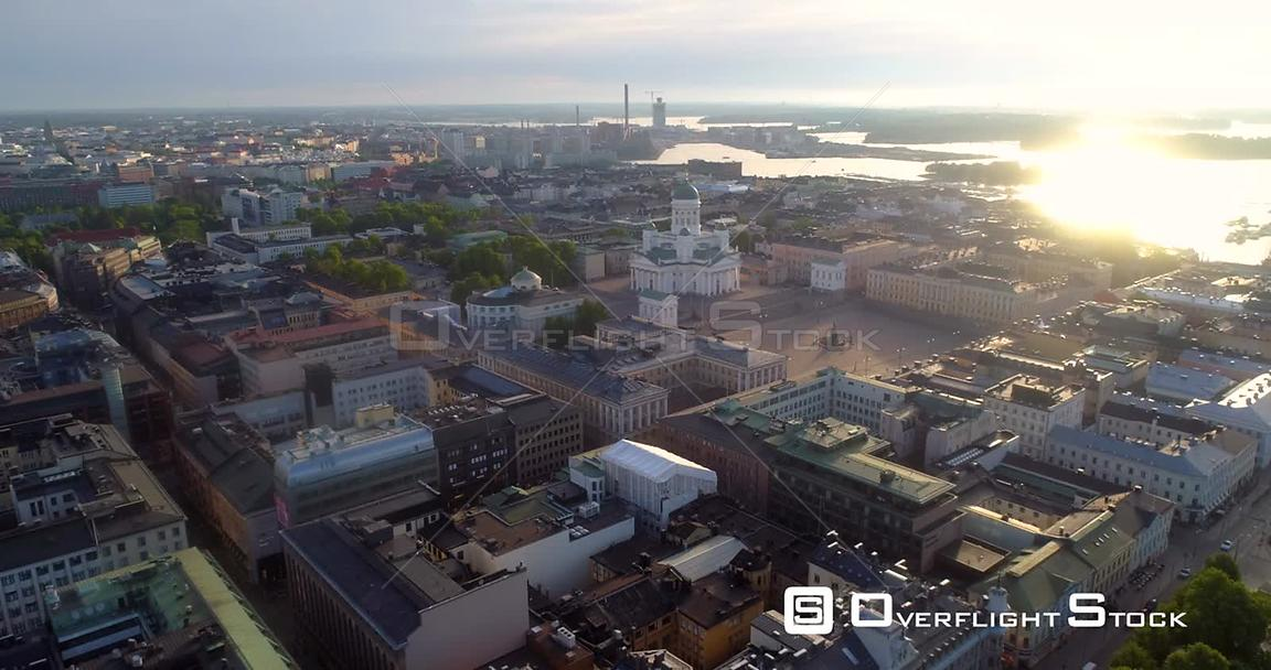 Helsinki City, Aerial Sideway View of the Cityscape and the Cathedral, on a Sunny Summer Morning Dawn, in Helsingfors, Uusimaa, Finland