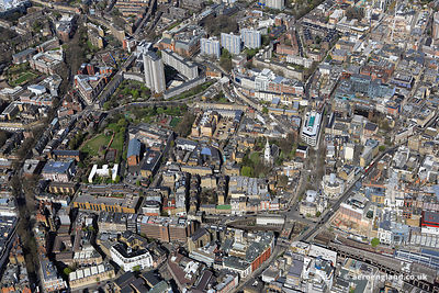 aerial photograph of Clerkenwell Rd, Islington , London EC1M 5SA showing the Vine St Bridge, Emerald St WC1N 3QH , Clerkenwell Green EC1R 0QJ , Old Session House and St James's ChurchArsenal