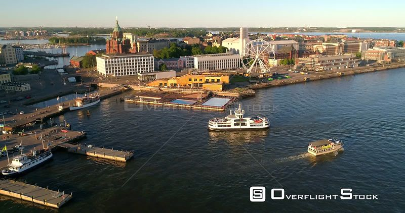 Helsinki Harbour, Aerial View Following a Suomenlinna Ferry Entering Helsinki South Harbor , on a Sunny Summer Evening Dusk, in Helsingfors, Uusimaa, Finland