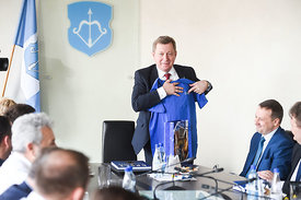Officials during the Final Tournament - Final Four - SEHA - Gazprom league, Meeting with the mayor of Brest in Brest, Belarus, 08.04.2017, Mandatory Credit ©SEHA/ Nebojša Tejić