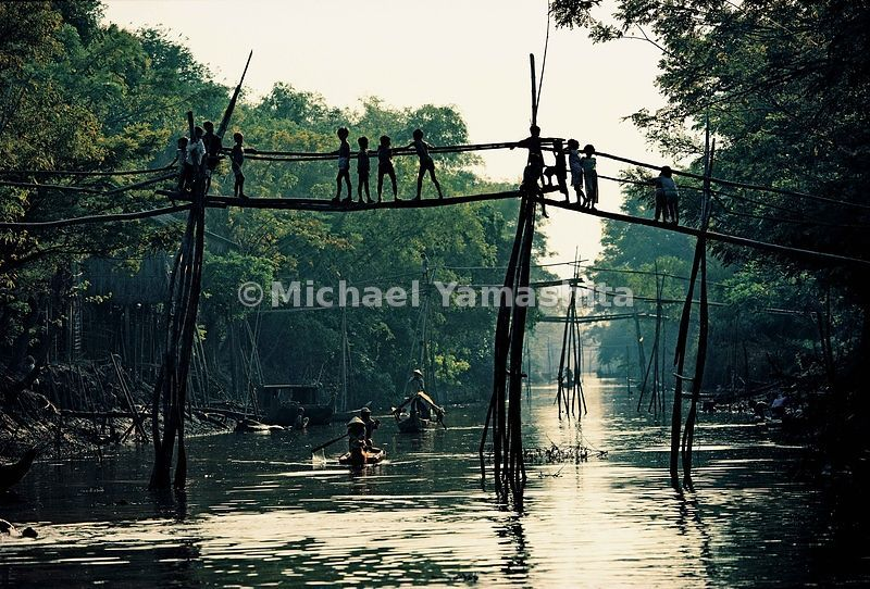 "Crossing these ""monkey bridges,"" as these spindly structures are called, requires the agility of a simian."