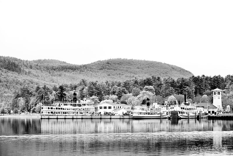 STEAMBOAT LAKE GEORGE ADIRONDACK MOUNTAINS BLACK AND WHITE
