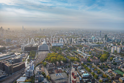 Aerial view of Somers Town, St Pancras International, Francis Crick Institute, Euston, St Pancras Hospital, and Pancras Rd, London.