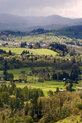 Overlook of the bucolic Willamette Valley, from Mount Pisgah, near Eugene, Oregon