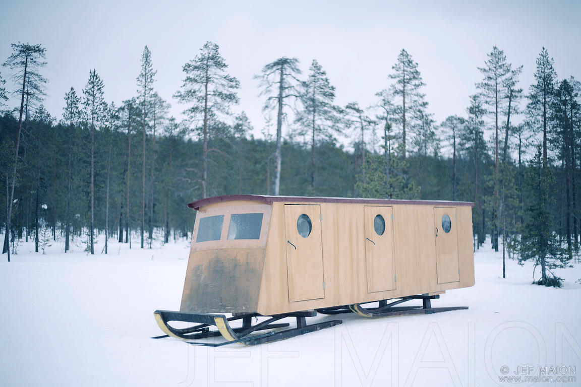 Wooden snowmobile trailer