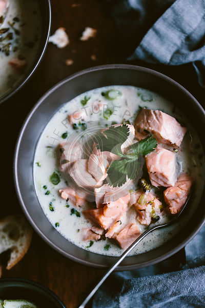 Salmon coconut chowder