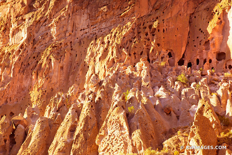 SUNSET NATIVE AMERICAN CLIFF DWELLINGS BANDELIER NATIONAL MONUMENT NEW MEXICO COLOR