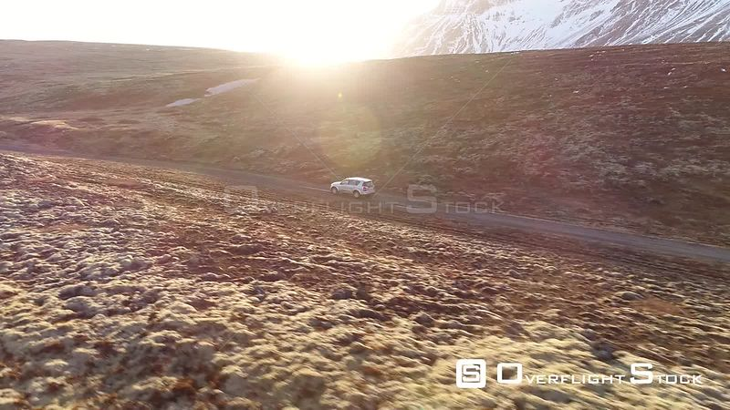Drone Video SUV ion a Isolated Road Iceland