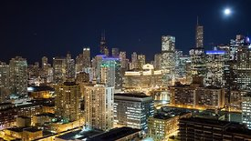 Bird's Eye: Wide Shot - Full Moon Over Chicago's Skyline