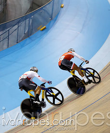 Men's Sprint 1/4 Final. Track Day 2, Toronto 2015 Pan Am Games, Milton Pan Am/Parapan Am Velodrome, Milton, On; July 17, 2015
