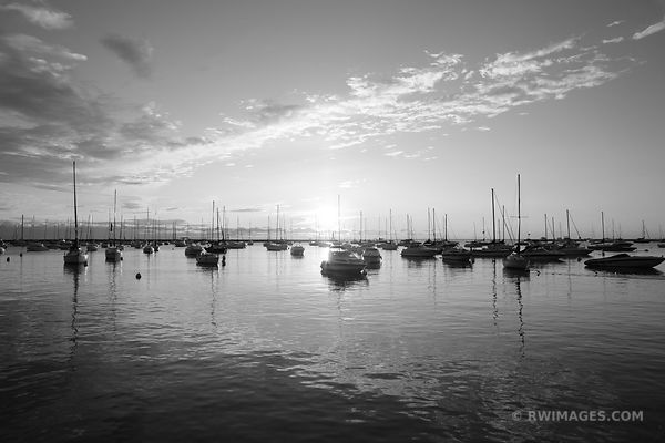 MONROE HARBOR SUNRISE CHICAGO LAKEFRONT BLACK AND WHITE