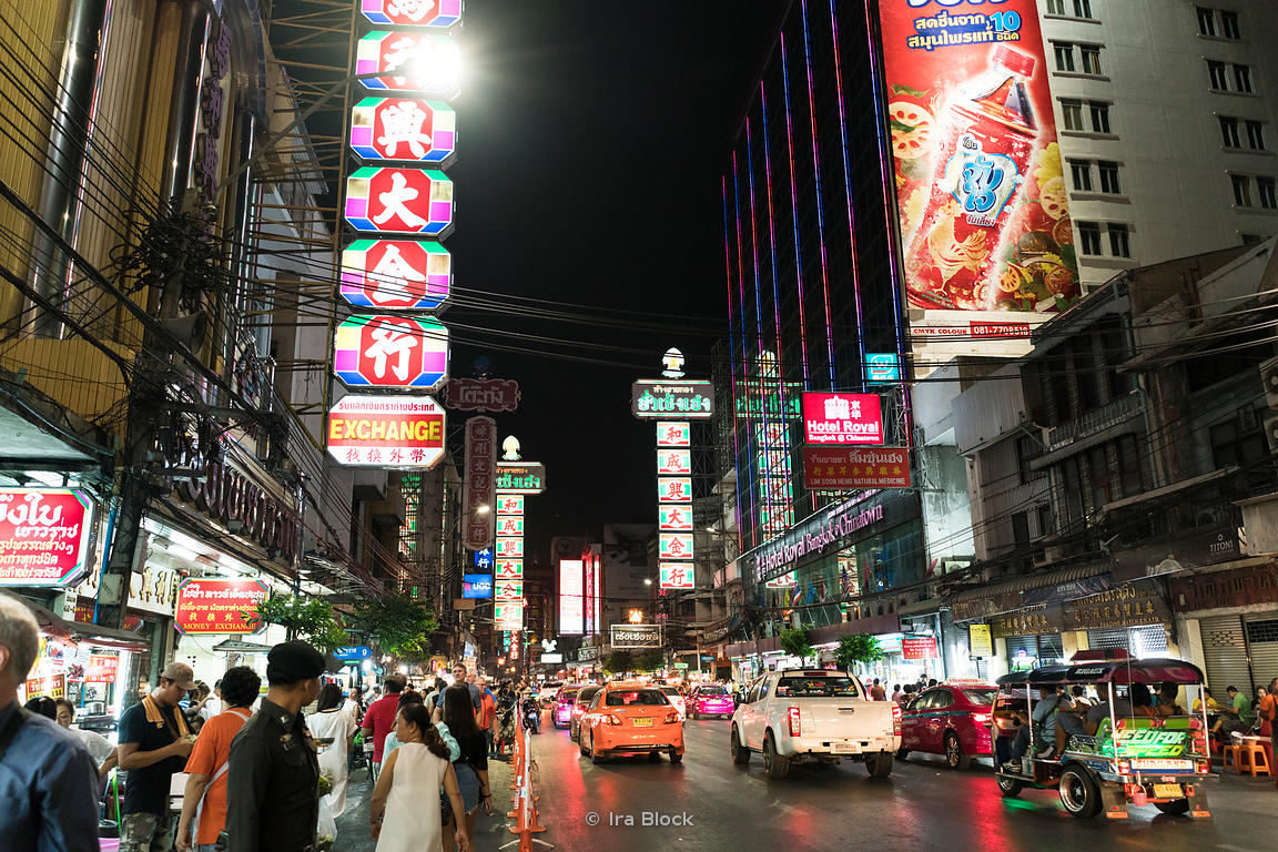 A street scene in Chinatown of Bangkok, Thailand.