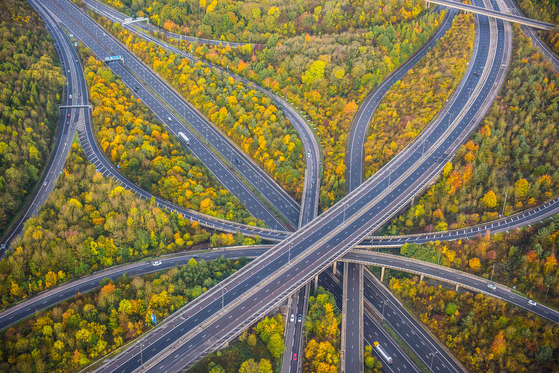 Aerial view of a motorway junction
