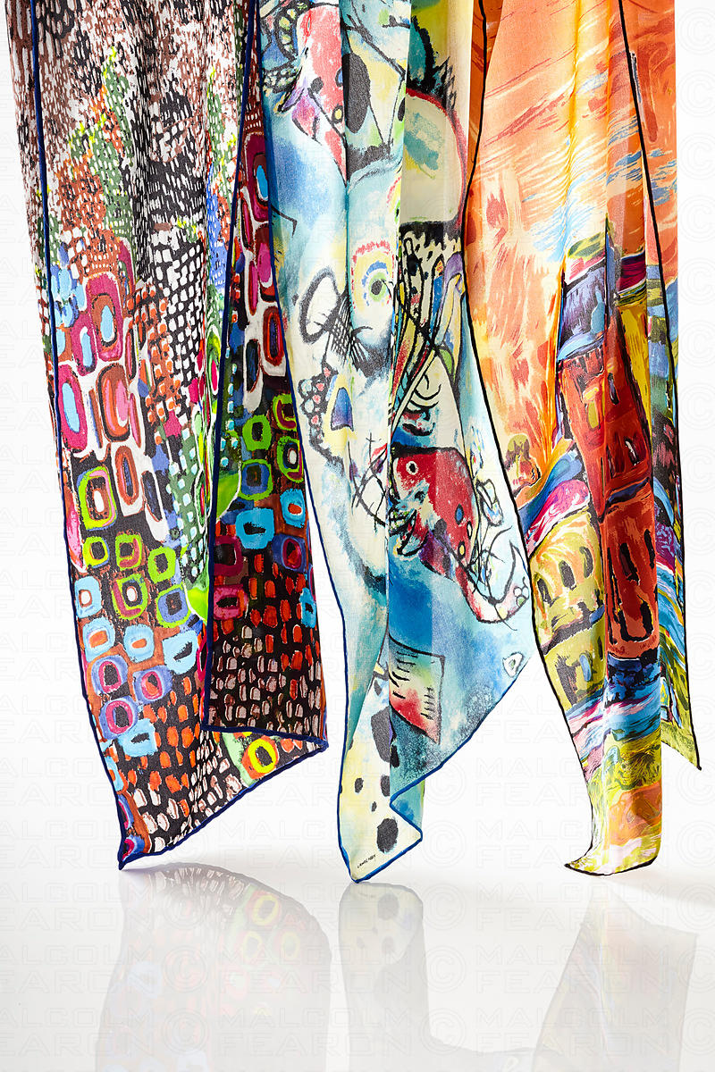 hanging collection of womens scarves