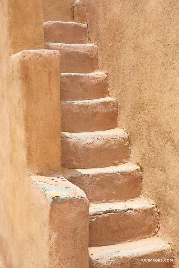 STAIRS ADOBE SOUTHWESTERN ARCHITECTURE NEW MEXICO COLOR VERTICAL NORTHERN NEW MEXICO