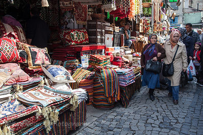 Rugs, pillows and fabric articles for sale close to the spice market, Istanbul
