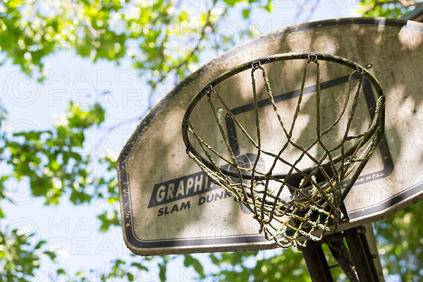 neglected basketball rim and backboard