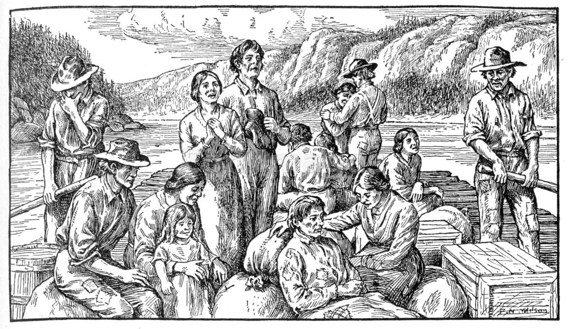 Weary Oregon Trail pioneers on a barge