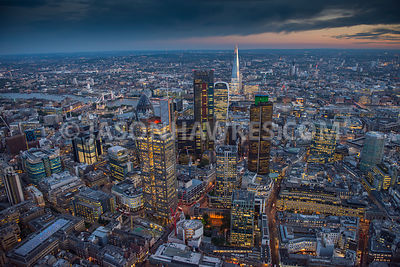 Aerial view, City of London at night