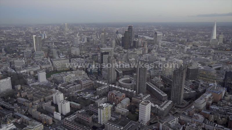 Aerial footage of the Barbican Estate and the City of London