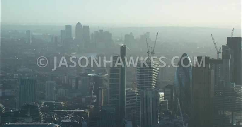 London Aerial footage, City of London skyline.