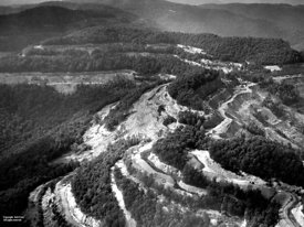 Aerial of stripped mountain