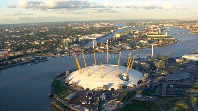 Aerial footage over the O2 Arena, North Greenwich, London, England, UK