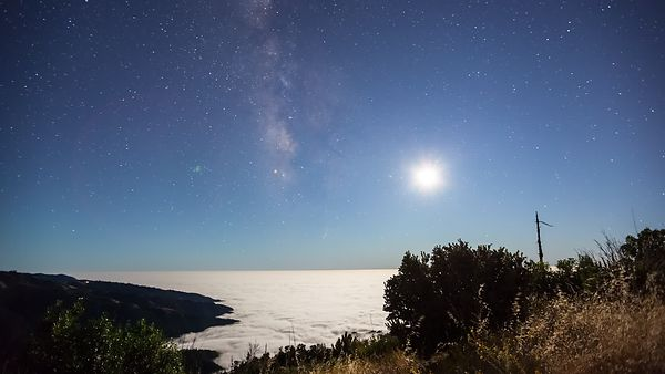 Wide Shot: Gorgeous Galaxy Spotted Dark SKy Following A Moon & Milky Way Set