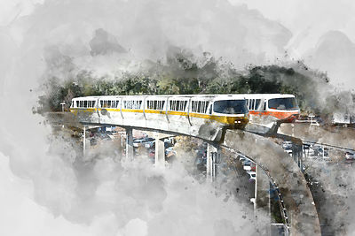 Dueling Monorails Watercolor