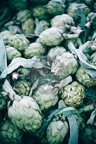 A market stall with an artichoke head