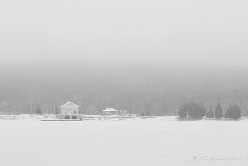 ROCK ISLAND BOATHOUSE WINTER FOG FROZEN LAKE DOOR COUNTY BLACK AND WHITE
