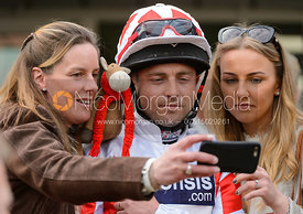 Ben Hobday and Emma Hobday in the Parade Ring - Champions Willberry Charity Flat Race - Cheltenham Racecourse, April 20th 2017