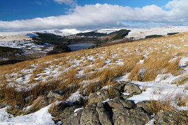 Pentwyn Reservoir, Brecon Beacons National Park, Powys, Wales, UK.