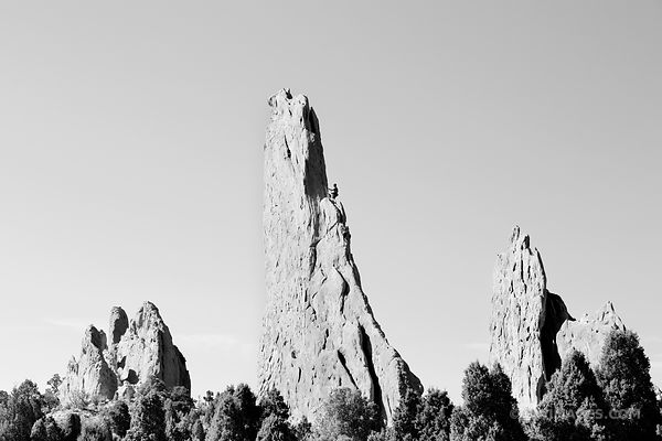 ROCK CLIMBERS GARDEN OF THE GODS COLORADO SPRINGS COLORADO BLACK AND WHITE