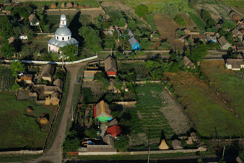 Aerial view of Letea village, within the Danube delta rewilding area, Romania, June 2012