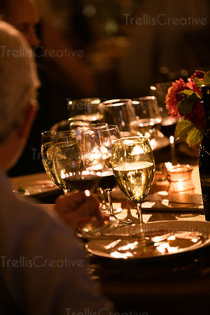 Candlelit dinner table at a party