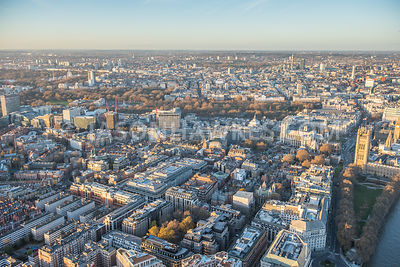 Aerial view of Westminster and Victoria, London. Victoria Tower Gardens. Home Office. Emmanuel Evangelical Church. Peabody Estate, Abbey Orchard Group. St Johns Gardens